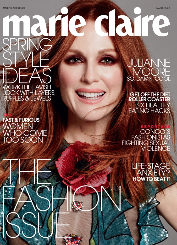 Julianne Moore on Marie Claire UK March 2016 cover