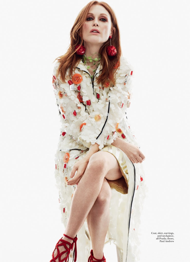 Julianne Moore embraces florals in a Prada coat and Paul Andrew shoes