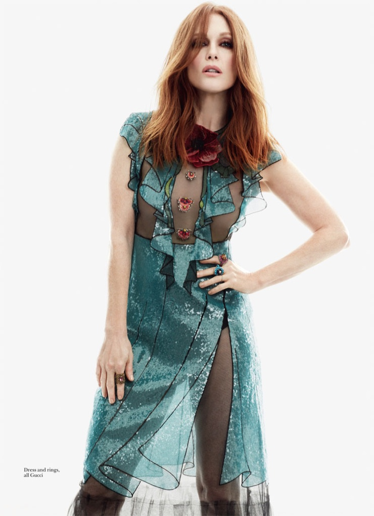 Julianne Moore wears a teal dress from Gucci