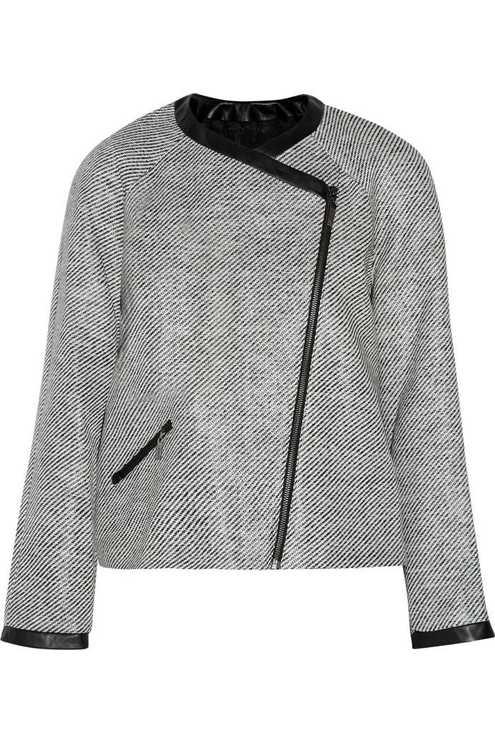 Karl Lagerfeld Isa Faux Leather Trimmed Raffia Jacket