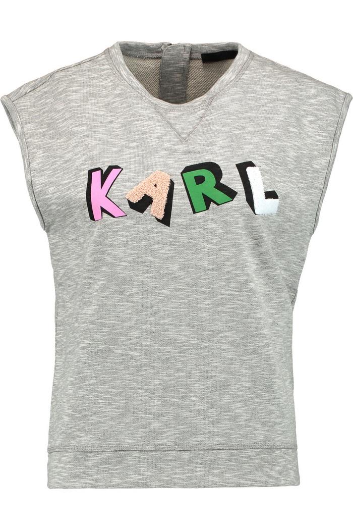 Karl Lagerfeld Malu Appliquéd Cotton Top