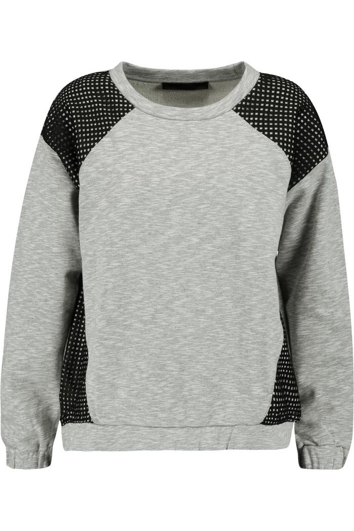Karl Lagerfeld Mesh Paneled Cotton Sweater
