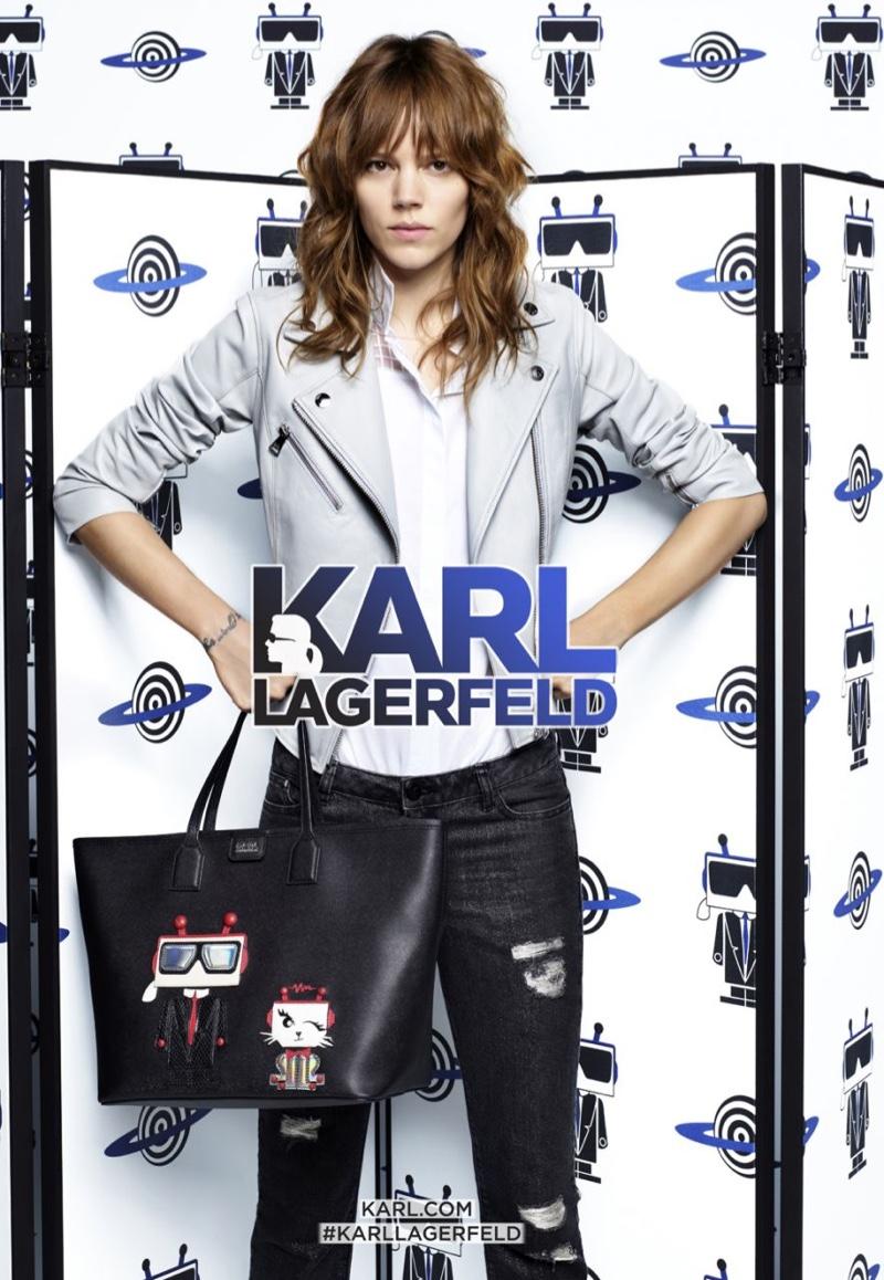 Freja Beha Erichsen wears moto jacket from Karl Lagerfeld's spring 2016 collection