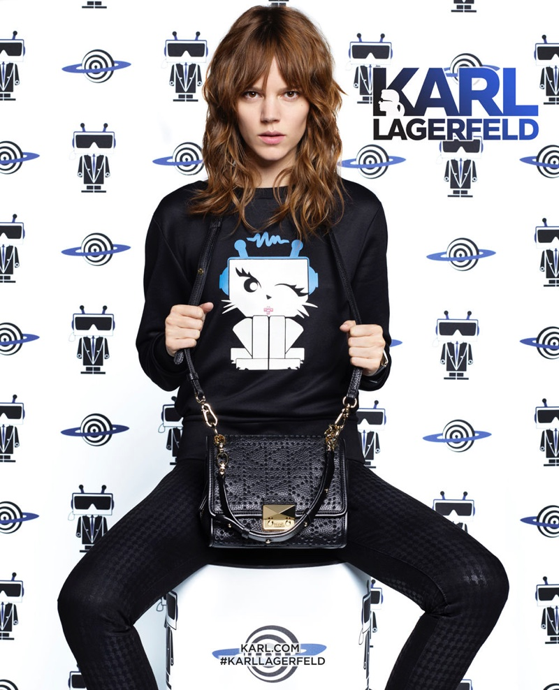 Freja Beha Erichsen poses in Choupette sweatshirt from Karl Lagerfeld's spring 2016 collection