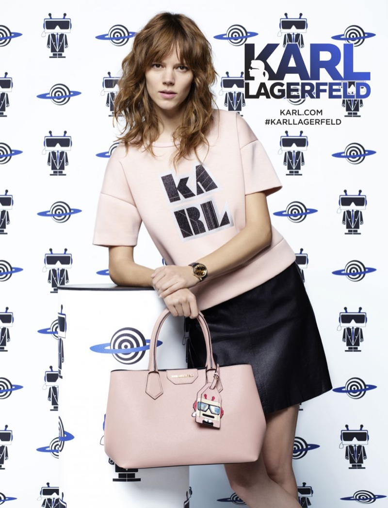 Freja Beha wears Karl t-shirt from Karl Lagerfeld's spring 2016 collection