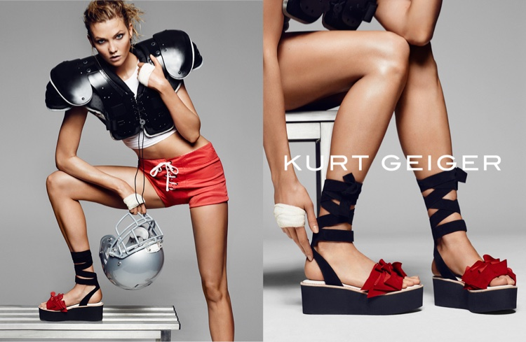 Karlie Kloss sports a football inspired outfit for Kurt Geiger's spring 2016 campaign