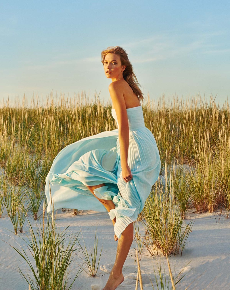 Karlie Kloss poses in blue dress from Marella's spring 2016 collection