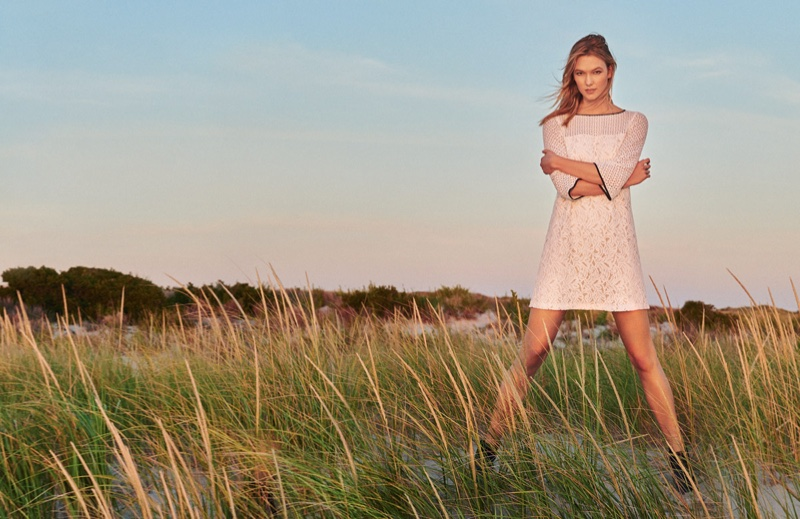 Karlie models shift dress from Marella's spring 2016 collection