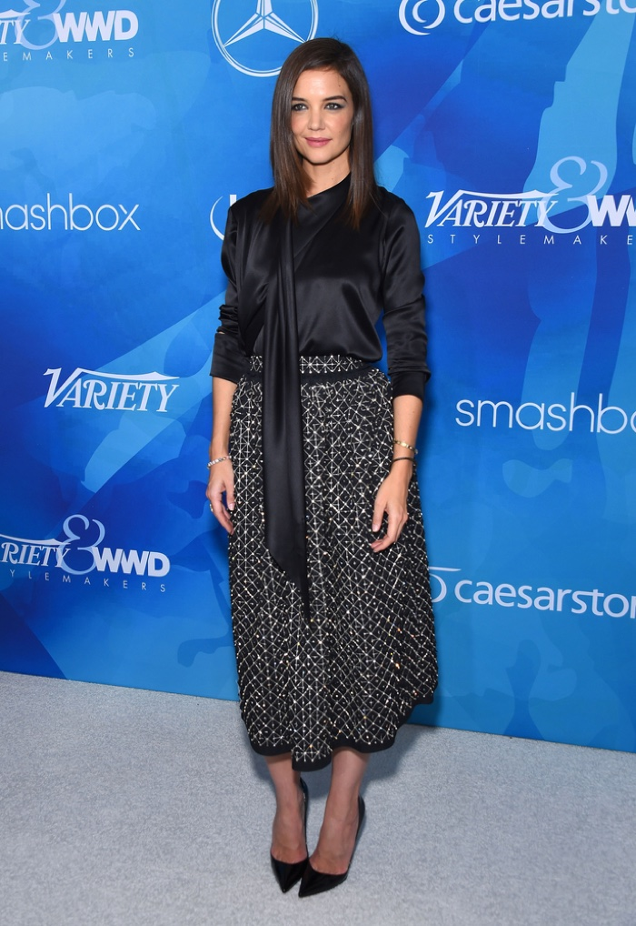NOVEMBER 2015: Katie Holmes attends Variety Magazine and WWD Stylemakers event wearing a black Zac Posen top and embellished skirt. Photo: DFree / Shutterstock.com
