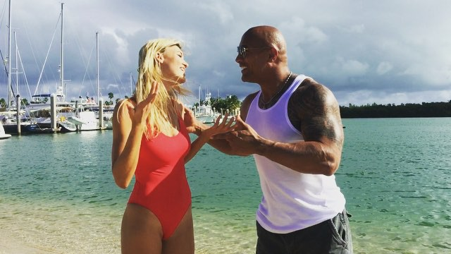 Kelly Rohrbach with The Rock aka Dwayne Johnson in Baywatch casting announcement
