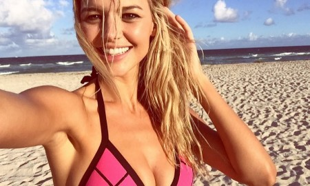 Kelly Rohrbach wears pink bikini on Instagram while shooting Calzedonia campaign