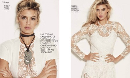 PRETTY IN LACE: Kelly Rohrbach poses in lace adorned top and romper