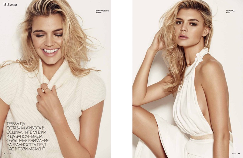 GRECIAN GODDESS: Kelly Rohrbach wears a pleated dress with a halter neck top