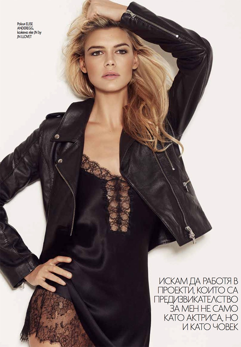 BACK TO BLACK: A shock of black brings some mystery with a leather jacket and lace top