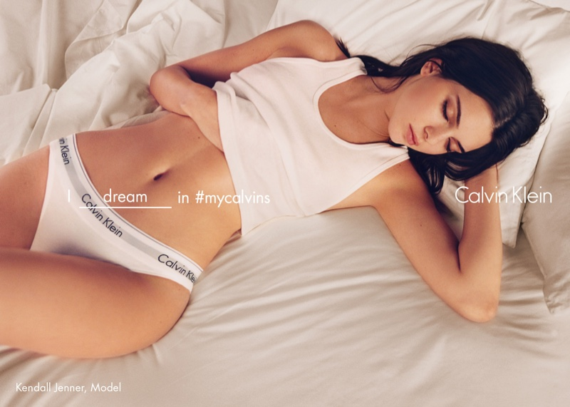 Kendall Jenner poses in bed for Calvin Klein's spring 2016 campaign