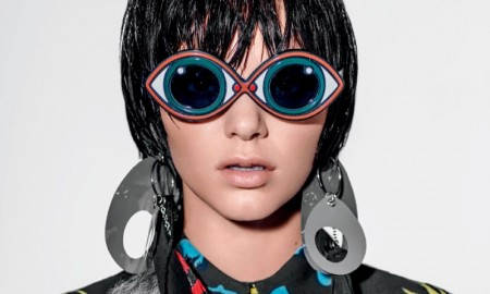 IN HER EYES: Kendall models a Miu Miu top with googly glasses