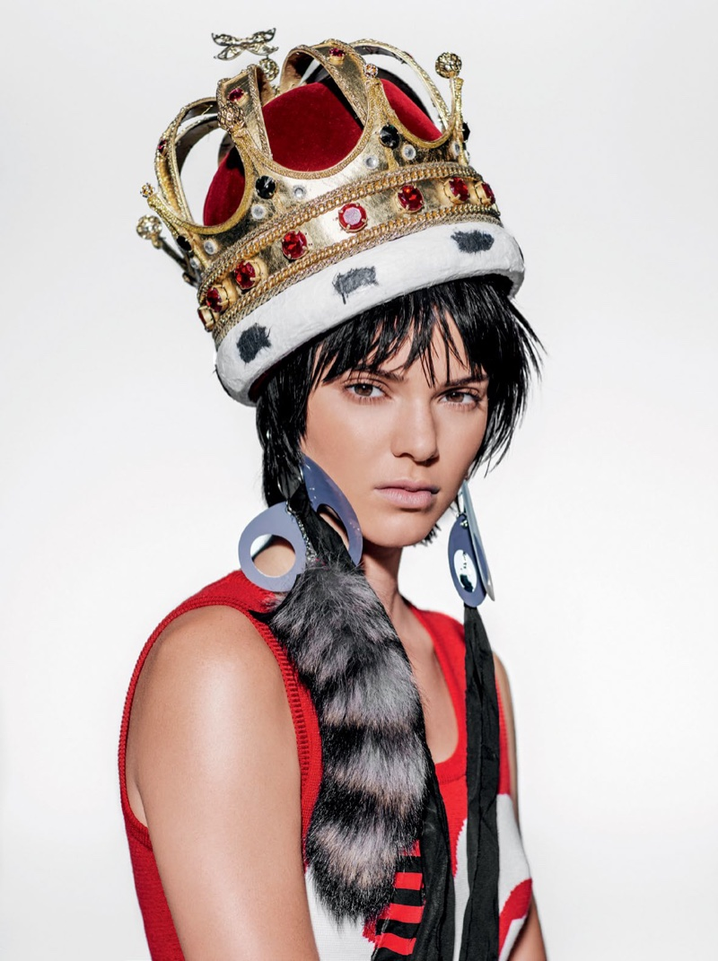 HEAVY IS THE CROWN: Kendall looks like royalty with a blinged out crown and fur embellishment