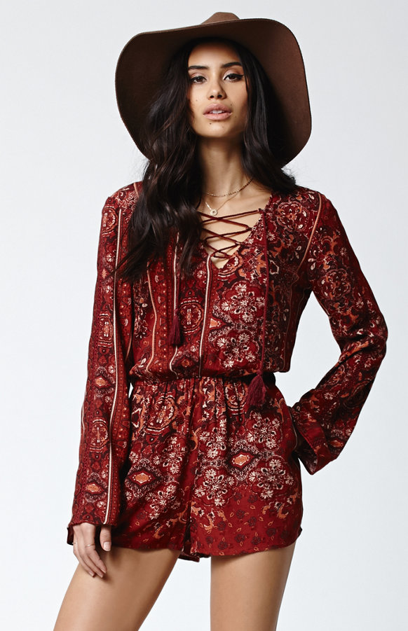 Kendall + Kylie for PacSun Lace-up Long Sleeve Romper