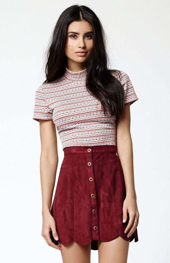 Kendall + Kylie for PacSun Mock Neck Short Sleeve Shirt