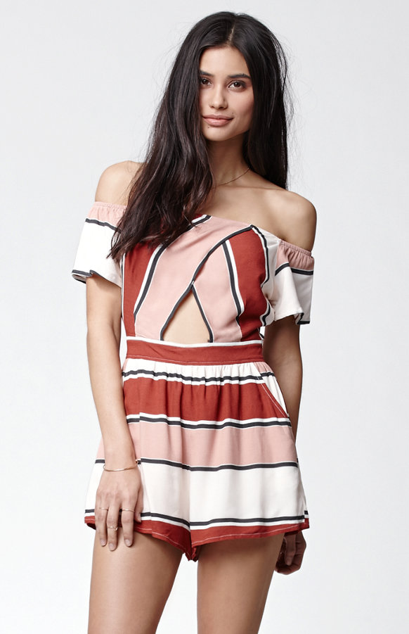 Kendall + Kylie for PacSun Striped Off the Shoulder Romper