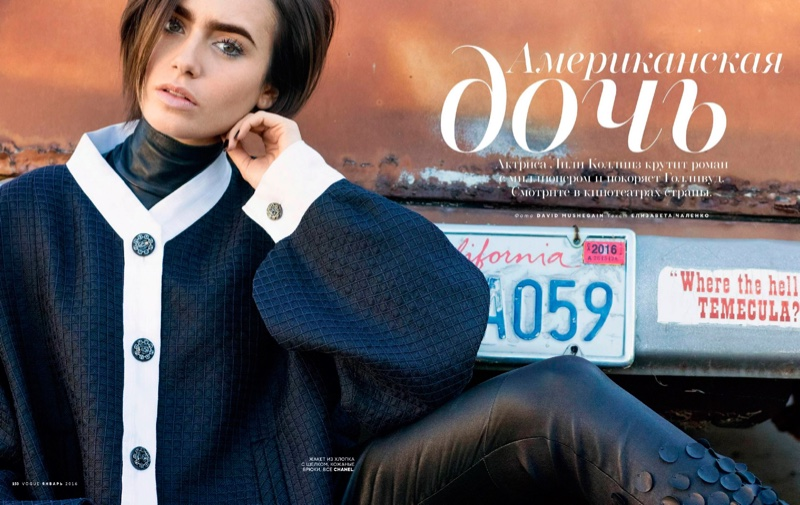 Lily Collins stars in Vogue Russia's January issue