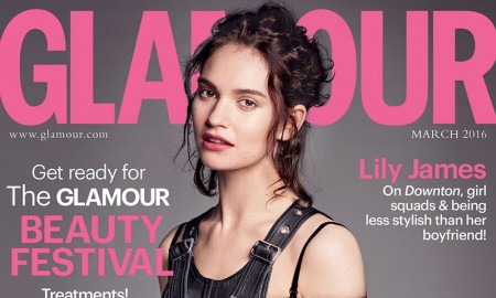 Lily James on Glamour UK March 2016 cover