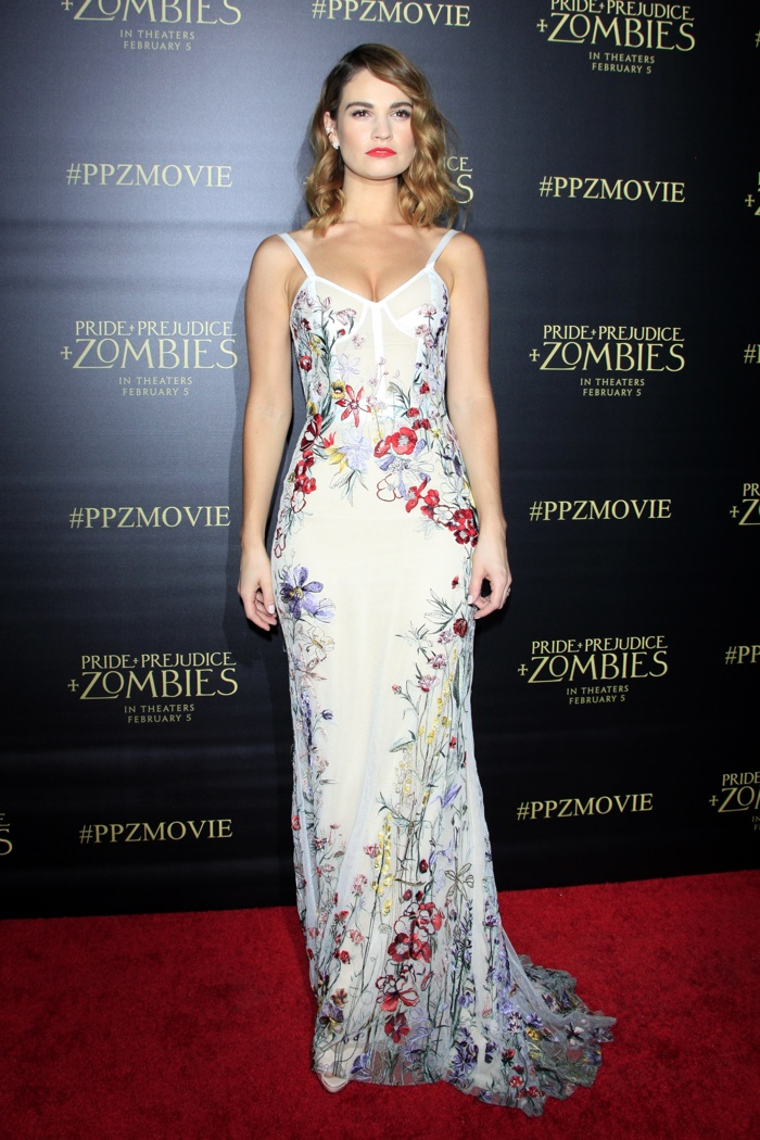 Lily James at the Los Angeles premiere of Pride and Prejudice and Zombies wearing an Alexander McQueen dress. Photo: Helga Esteb / Shutterstock.com