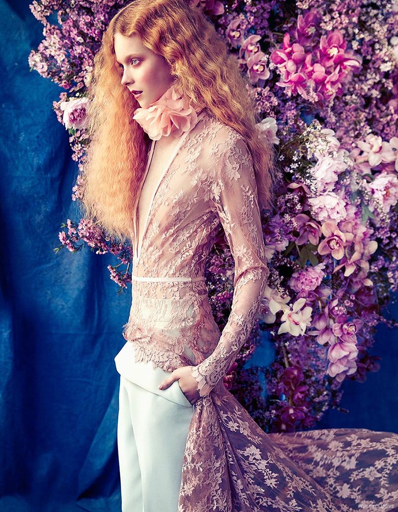 Hardwick by Mariana Hardwick Lace Dress, Toni Maticevski Pants from Christine and Nevenka Flower Neckpiece