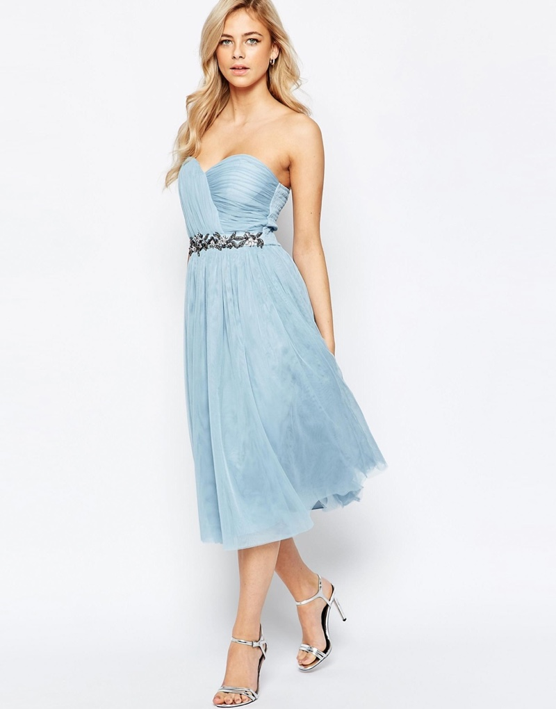 7d5e6eee2f41 Fame and Partners Blue Multiway Dress · Little Mistress Bandeau Embellished  Midi Dress with Tulle Skirt
