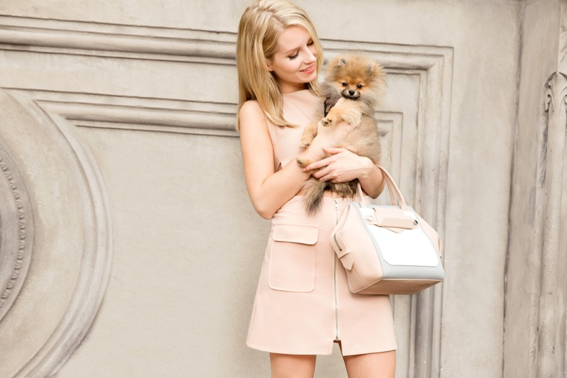 Lottie Moss poses with Pomeranian dog in Botkier's spring campaign