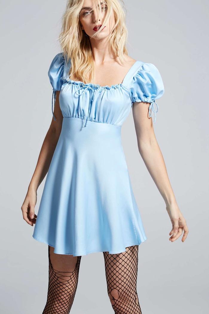 Courtney Love x Nasty Gal Blue Satin Babydoll Dress