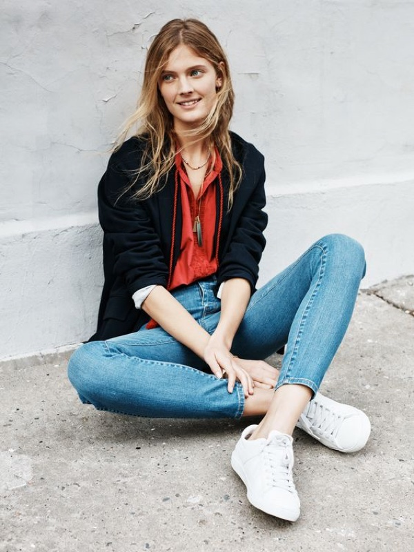 Madewell Skinny Skinny Jeans,The Flatiron Blazer, Embroidered Camelia Top and Ensign Necklace