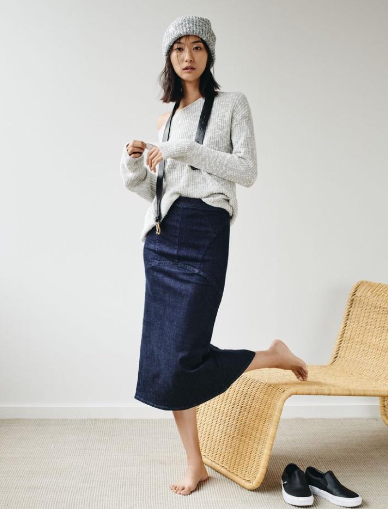 Madewell Denim Pencil Skirt worn with The Leftbank Sweater, Slouchy Beanie, Backcountry Belt + Vans® Classic Slip-Ons