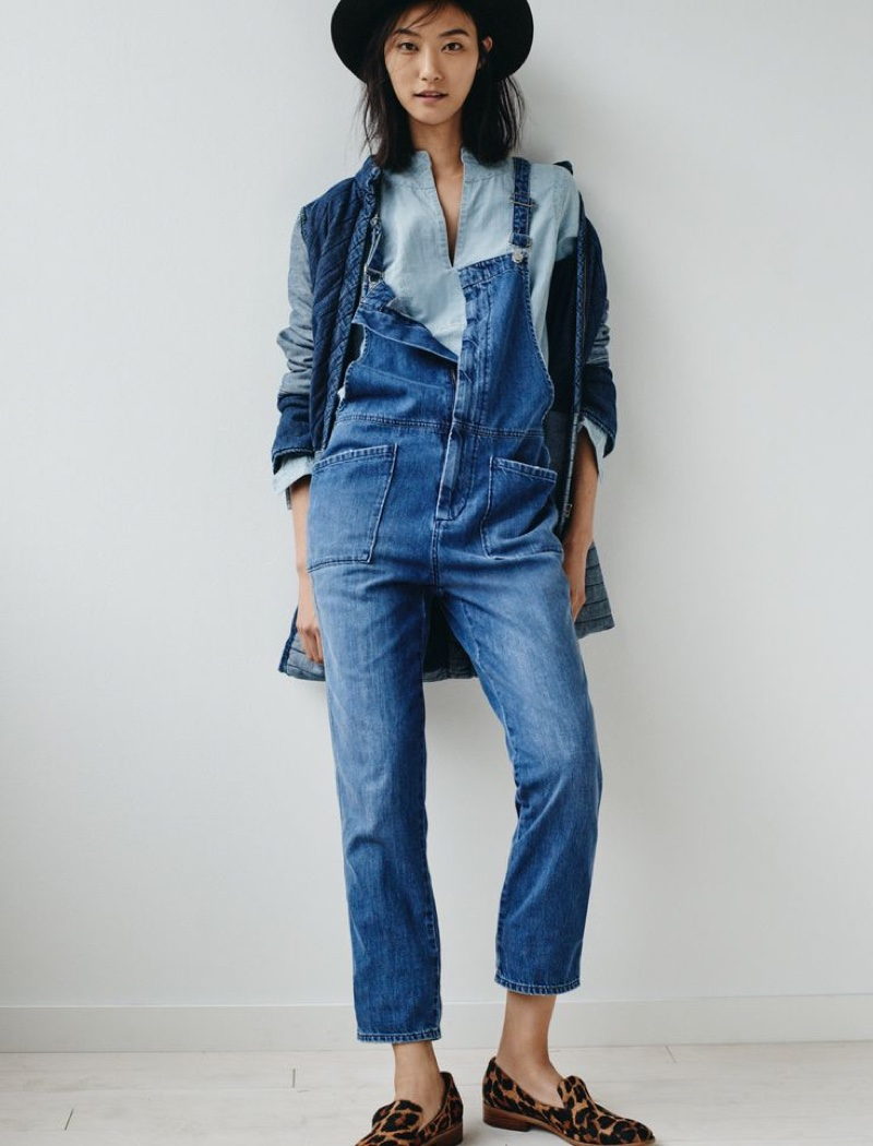 de93ad144ca Madewell Dungaree Overalls worn with The Denim Quilted Jacket
