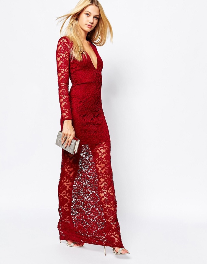 Missguided Red Lace Plunge Maxi Dress $41.91