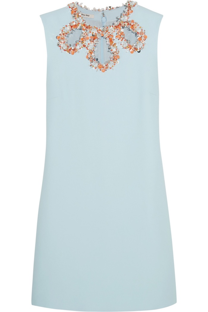 Miu Miu Embellished Cutout Crepe Dress