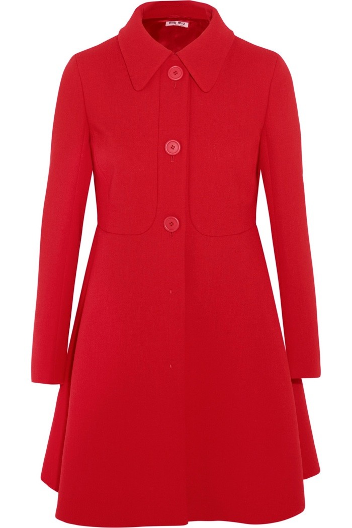 Miu Miu Red Wool Crepe Coat