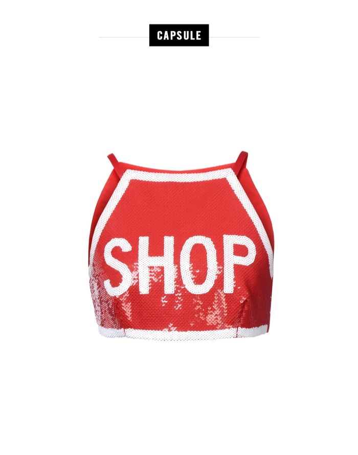 Moschino Red Sequined Shop Crop Top