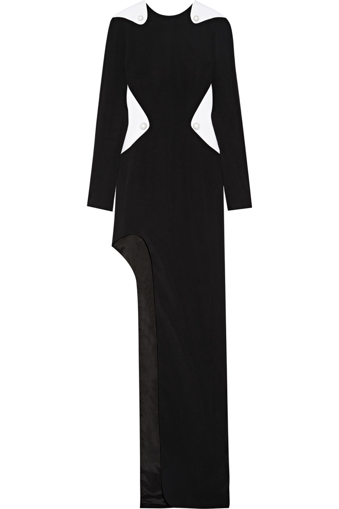 Mugler Cutout Two-Tone Cady Gown