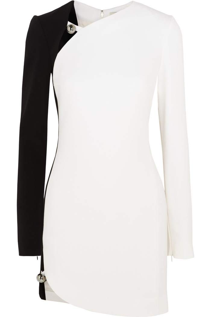 Mugler Two-Tone Crepe Mini Dress