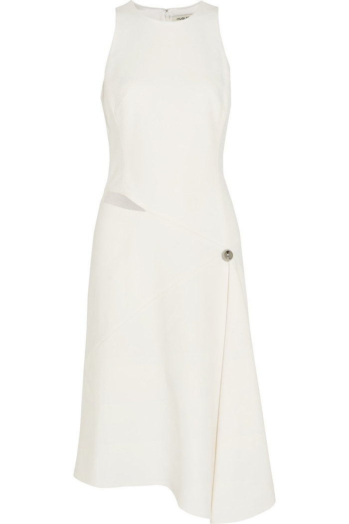 Mugler White Asymmetric Cutout Crepe Dress