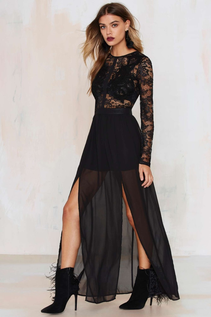 Nasty Gal Black Lace Applique Dress $88