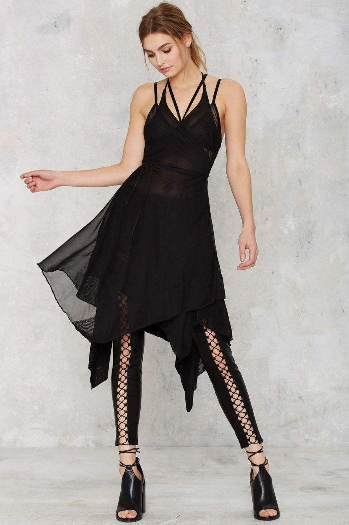 Nasty Gal Black Sheer Wrap Dress $68