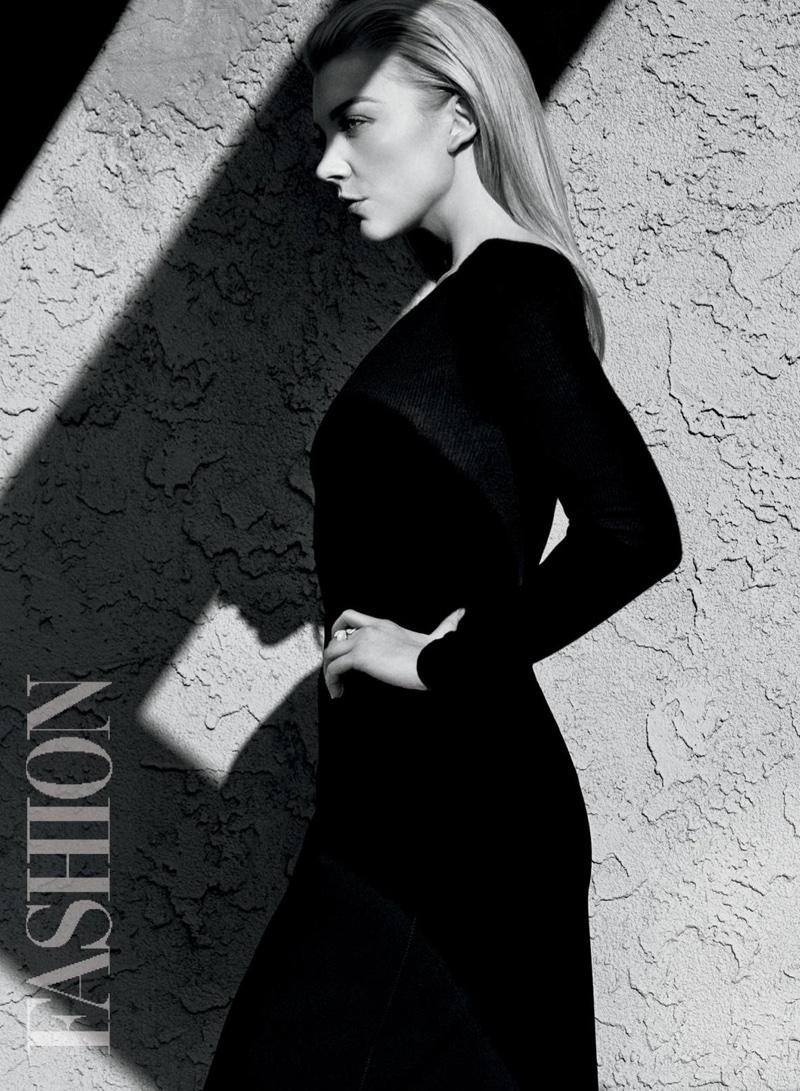 Natalie Dormer poses in a long sleeve Michael Kors top and BOSS skirt