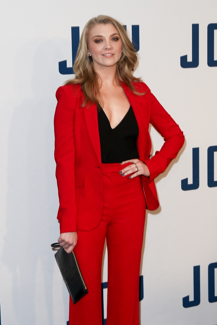 DECEMBER 2015: Natalie Dormer suits up in red Issa pantsuit at the New York premiere of JOY. Photo: Debby Wong / Shutterstock.com