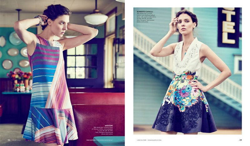 (L) Striped dress from Missoni (R) Floral embellished dress designed by Roberto Cavalli