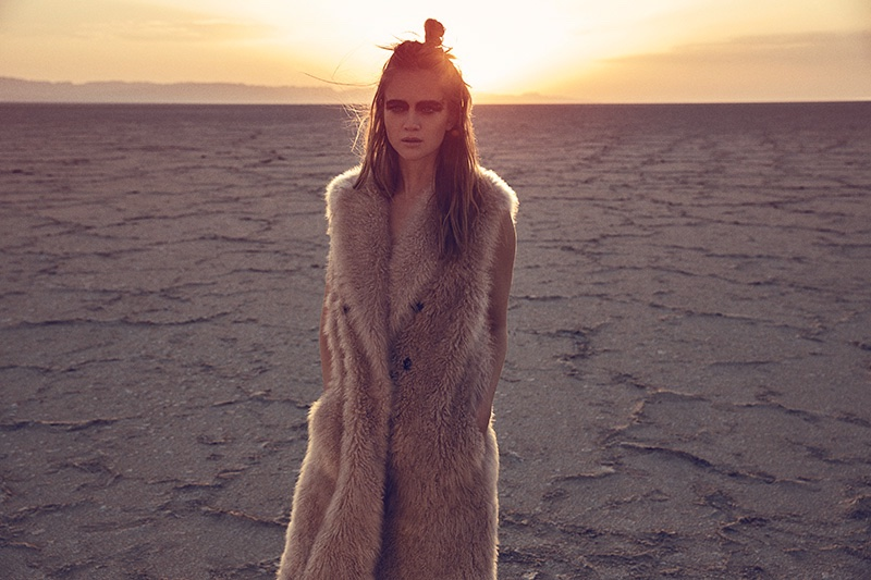NATURAL FEELING: Rosie models a long fur vest by Brunello Cucinelli