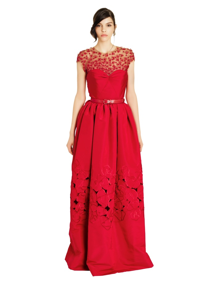 ... Oscar de la Renta Embroidered Red Floral Dress