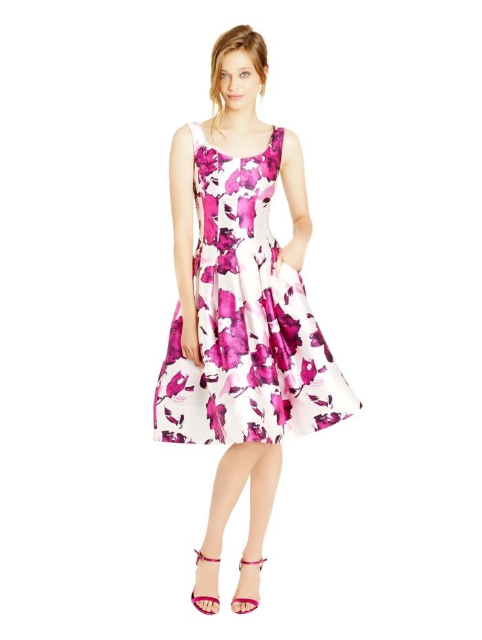 Oscar De La A Watercolor Rose Print Dress