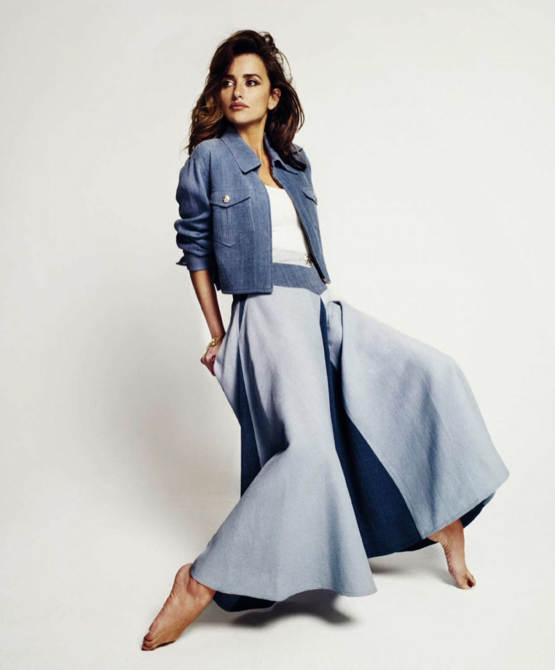 Penelope Cruz poses in denim looks for the photo spread